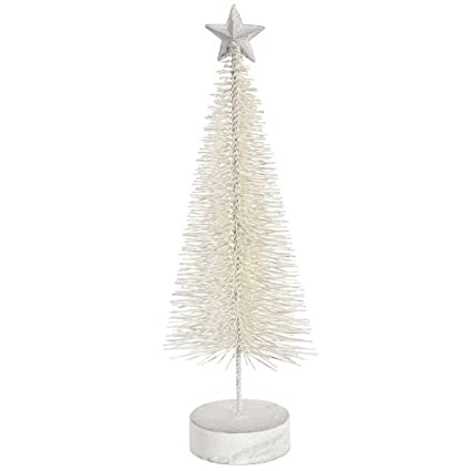 Winter White Glitter Sisal Artificial Table Top Christmas Bottle Brush Trees - Set of two