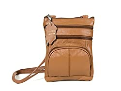 Genuine Leather Organizer Womens Crossbody Bag from Roma Leathers