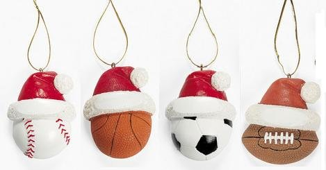 sports themed resin christmas ornaments baseball basketball soccer football