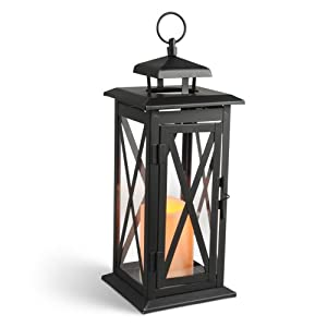 Gerson 14-Inch Criss Cross Lantern Metal Lantern with 3 by 4.5-Inch Indoor/Outdoor LED Candle