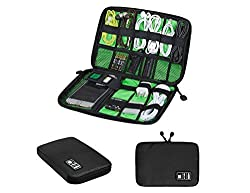 Waterproof Nylon USB Cable Hard Drive Cell Phone Cord Holder Electronics Accessory Shuttle SD Card Reader Organizer Travel Portable Carrying Storage Bag Headphone Charger Clutter Protection Case