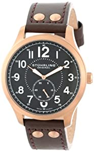 """Stuhrling Original Men's 486.3345K1 """"Leisure Eagle Hawkeye"""" 16k Rose Gold-Layered Watch with Brown Leather Band"""