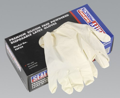 Sealey SSP24 Premium Silicon Free Powdered Disposable Latex Gloves, Set of 100