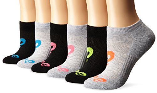 ASICS Invasion No Show Socks 6-Pack, Knockout Pink Assorted, Large