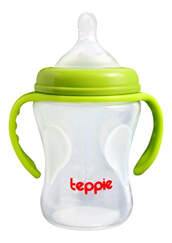 Feeding Bottle by Teppie - Temperature Sensitive for Child Safety - 8 oz - Great for Weaning Breastfeeding Babies or Baby Formula - Features Detachable Handle - Dishwasher & Freezer Safe