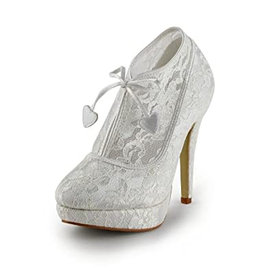 s ankle boots white lace wedding shoes high stilett