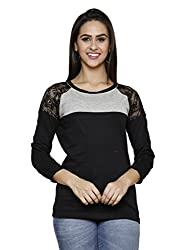 ESPRESSO WOMEN'S LACESLEEVE TOP-BLACK/GREY MELANGE
