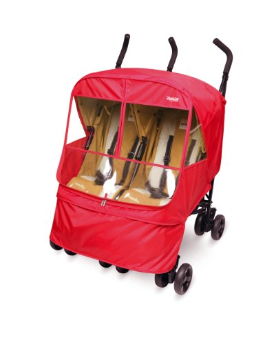 Manito Elegance Alpha Twin Stroller Weather Shield / Rain Cover - Red (3 Colors Available)