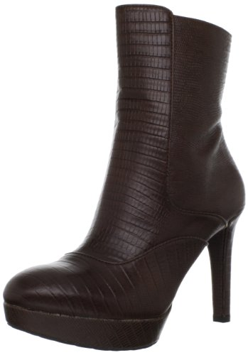 Rockport Women's Janae Leather Zip Cigar Lizard Booties Heels K72910 7 UK, 37 EU B