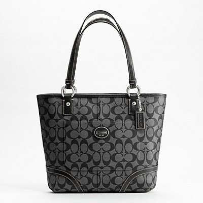Coach Peyton Black Grey Signature C Leather Tote 18917