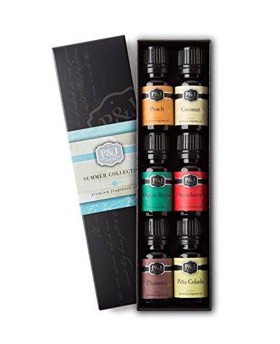 summer-set-of-6-premium-grade-fragrance-oils-peach-strawberry-plumeria-coconut-ocean-breeze-pina-col