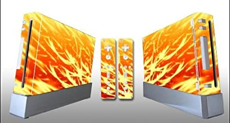 Bundle Monster Vinyl Skins Accessory For Nintendo Wii Game Console - Cover Faceplate Protector Sticker Art Decal - Orange Sparks
