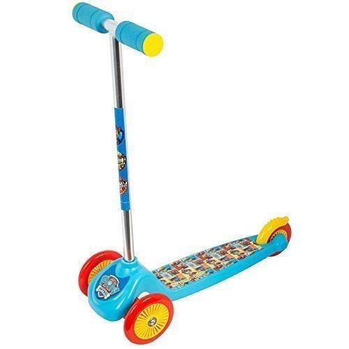 """Monopattino a 3 ruote per bambini, con sterzo regolabile e girevole, motivo """"Paw Patrol - La squadra dei cuccioli"""", colore: azzurro, giocattolo regalo per Natale"""