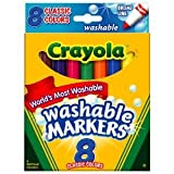 Crayola Washable Markers, Broad Point, Classic Colors, 8/Pack (58-7808) - Classic Colors Available Toy / Game / Play / Child / Kid