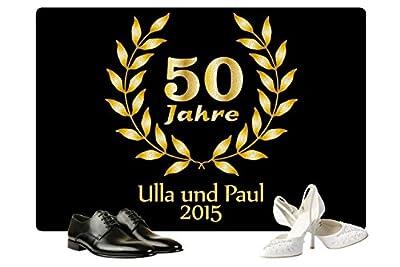 Geschenke 24: Personalisierte Fußmatte Goldene Hochzeit in Schwarz - Fußmatte mit Namen bedrucken - eine tolle Geschenkidee zu 50 Jahren Eheglück