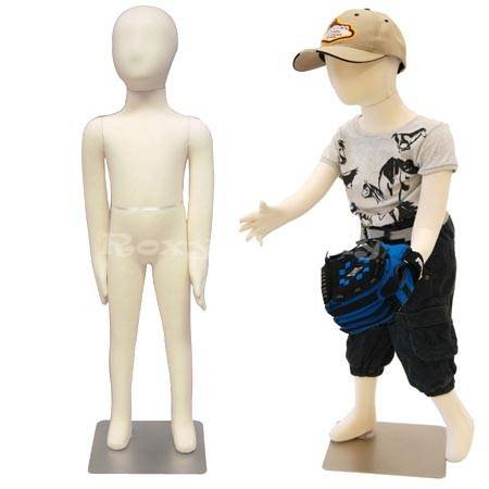 (JF-CH03T) Child Body Form 3 yrs. old white jersey form cover,with head, flexible arms, fingers & legs, metal base