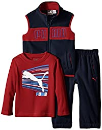 PUMA Baby-Boys Microfleece Vest Set with Long Sleeve Tee, Deep Navy, 18 Months