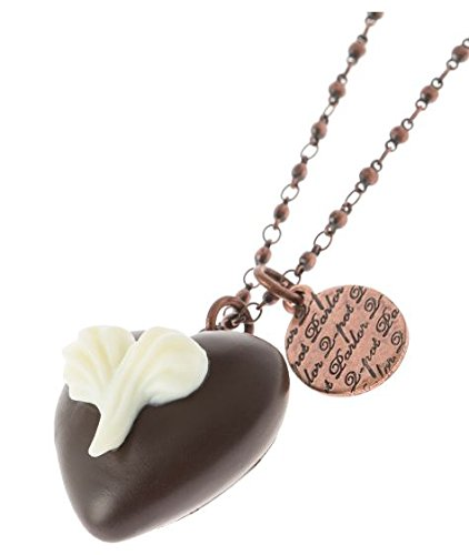 Q-pot Heart on Heart Chocolate Necklace Brown Fashion Jewelry New From Japan F/s
