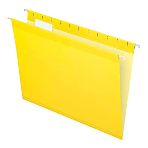 Pendaflex Reinforced Hanging Folders, Letter Size, Yellow, 25 per Box (4152 1/5 YEL)