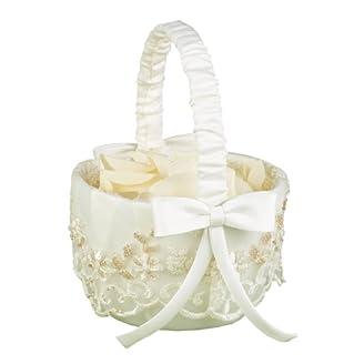 Hortense B. Hewitt Wedding Accessories Vintage Charm, Flower Girl Basket, Ivory