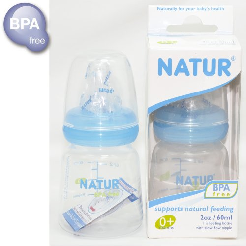 New NATUR Blue Baby feeding bottle with nipple 2 oz / 60 ml BPA Free