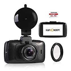 K&F Concept Car DVR 1296P HD 2.7 Inch 170 Degree Wide Angle Car Dashboard Camera with CPL Filter,G-Sensor,WDR Night Mode & 64GB Micro SD Card