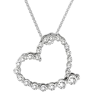 "14K White Gold 1/4 ct. Diamond ""Journey of Love"" Heart Pendant with Chain by Katarina"