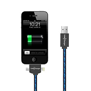 Wecharger 3-in-1 USB Data Sync & Charger Cable (30pin + 8pin Lightning + Micro Usb,) Light Up Luminescent Visible Current Flow Cable for iPhone4/5/ iPad 4/3/ iPad Mini/Mini2 and All Mirco 5pin Series Phone