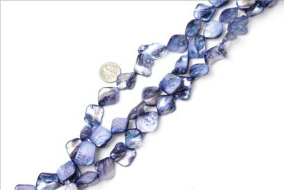 15x20mm freeform blue Sea shell beads strand 15