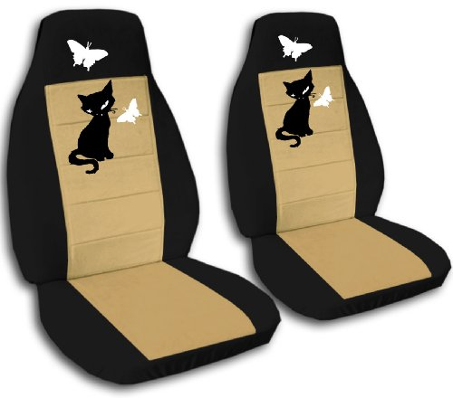 2 front black and tan seat covers with a kitten for a 2011 to 2012 hyundai elantra sedan side. Black Bedroom Furniture Sets. Home Design Ideas