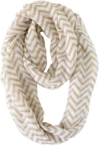 Vivian & Vincent Soft Light Weight Zig Zag Chevron Sheer Infinity Scarf (Earth/White)