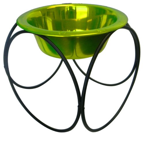 Olympic Dinner Stand w/ 32oz Stainless Steel Dog Bowl - Corona Lime