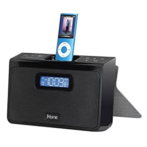 ihome ih24b portable stereo alarm clock speaker system for ipod black electronics. Black Bedroom Furniture Sets. Home Design Ideas