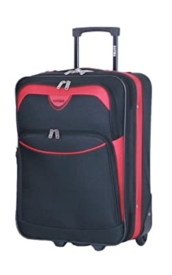 "5 Cities® Small Cabin Size 21"" Lightweight Expandable Luggage Suitcase Trolley Bag (Black/Red)"