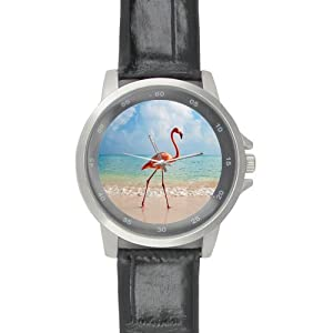 Special Design Unique Beautiful Pink Flamingo, Love Flamingo Custom Unisex Stainless Steel Leather Strap Watch Metal Case, Tempered Glass, Black Leather Band