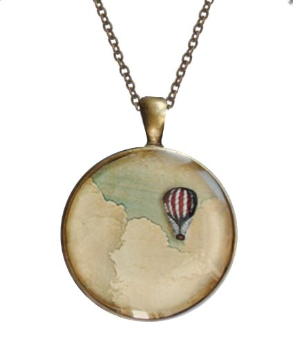 Floating-Hot-Air-Balloon-Antique-Brass-3-D-Pendant-Necklace-round-125-inch-diameter-with-18-Chain