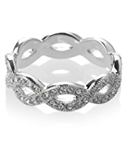 M&S Collection Platinum Plated Interlace Ring Diamanté Bangle