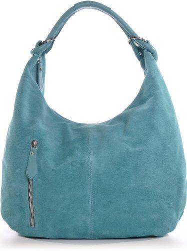 CNTMP, Mesdames sacs à main, sacs hobo, sacs à bandoulière, sac, sacs, sacs à la mode, velours, suède, daim, sac en cuir, A4, 44x36x4cm (L x H x P) (turquoise (aqua))