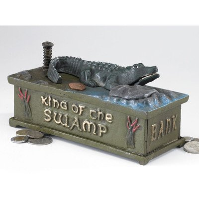 Design Toscano SP1590 King of the Swamp Alligator Authentic Foundry Iron Mechanical Bank