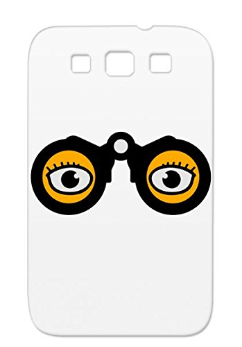 Magnifying Glass Eyes Orange Protective Hard Case For Sumsang Galaxy S3 See Miscellaneous Spy Funny Lupe Funny Binoculars By Watching Eyes Comic Cool