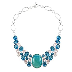 Pugster Chunky Bubble Blue Topaz White Bib Statement Necklace Fashion Jewelry For Women