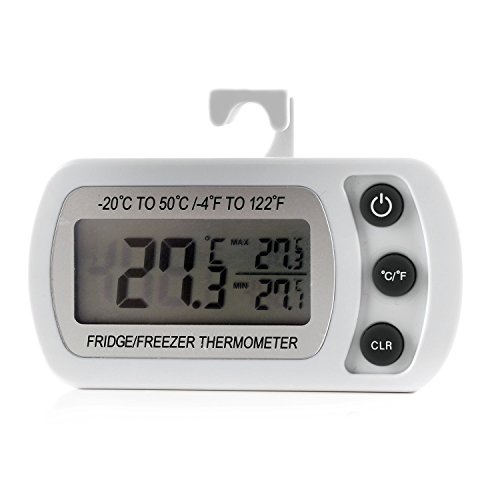 Digital Refrigerator Freezer Room Thermometer, Large LCD Easy to Read Display (White) (Walk In Freezer Thermometer compare prices)