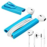 2in1 Rasfox Earphone Headset EarBud with Mic + Rasfox EarBuddy --- Ultimate Cord Winder with Clip for iPhone 3G 3GS 4 4S 5 5C 5S iPod Touch Nano Classic Shuffle Samsung Galaxy S2 S3 S III S4 mini Note 2 3 Nexus Acer HTC one LG G2 Moto X and More (Blue)