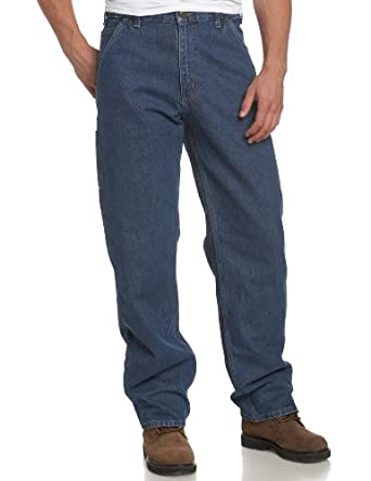 Carhartt Men's  Original Fit Signature Denim Dungaree, Darkstone, 30 x 30