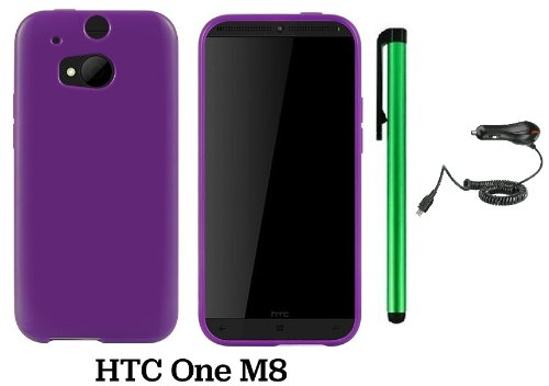 Htc One (M8) Solid Plain Color Tpu Protector Back Cover Case (2014 Q1 Released; Carrier: Verizon, At&T, T-Mobile, Sprint) + Car Charger + 1 Of New Assorted Color Metal Stylus Touch Screen Pen (Purple)