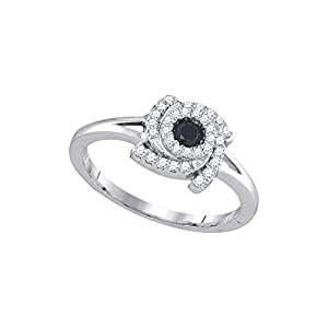 10kt White Gold Womens Round Black Colored Diamond Bridal Wedding Engagement Ring (.33 cttw.)