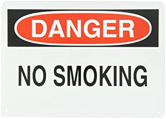 "Brady Black And Red On White Color No Smoking Sign, Legend ""Danger, No Smoking"""