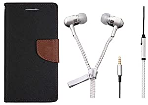 Novo Style Book Style Folio Wallet Case Samsung Galaxy On7 Black + Zipper Earphones/Hands free With Mic 3.5mm jack