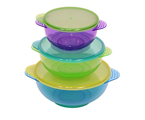 NEW!! Hugabugg Hugabowls. Best baby bowls with 3 bright colorful bowls and 3 lids perfect for babies and toddlers. BPA free. Snap tight lids are great for easy storage and on the go mess free feeding. (Snack Bowl With Snap Lid compare prices)