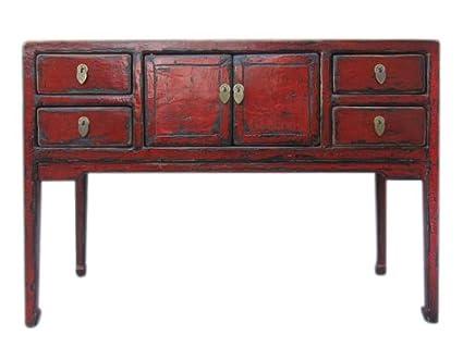 Chiquita de escritorio con cuatro cajones en madera de colour marrón y rojo de la madera de pino China